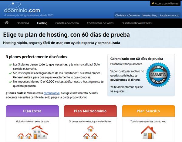 Planes de hosting de Doominio.com